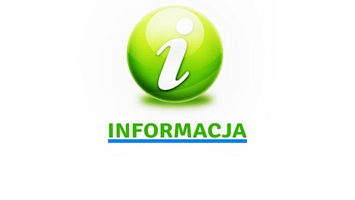 """Ilustracja przedstawia zieloną kulę z białą literką """"i"""" oraz zielony napis """"informacja"""""""