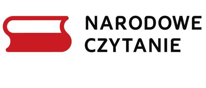"""Logotyp z symbolem biało-czerwonej książki i napisem """"Narodowe Czytanie"""""""