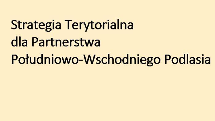 Napis: Strategia Terytorialna dla Partnerstwa Południowo-Wschodniego Podlasia